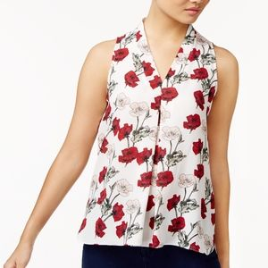 Vince Camuto Inverted-Pleat Flower Blouse